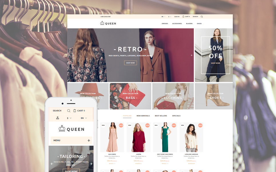 Queen - Womens Clothes PrestaShop Theme